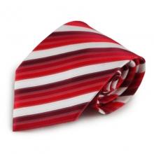 Červená mikrovláknová kravata s proužky (bílá)