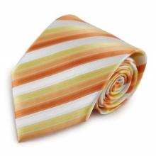 Oranžová mikrovláknová kravata s proužky (bílá)