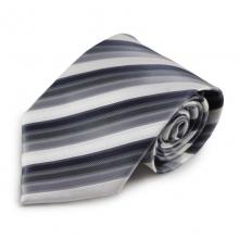 Šedá mikrovláknová kravata s proužky (bílá)
