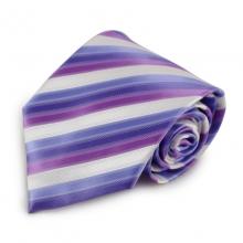 Fialová mikrovláknová kravata s proužky (bílá)