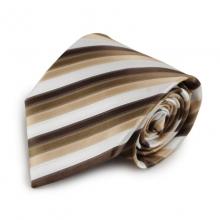 Hnědá mikrovláknová kravata s proužky (bílá)