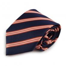 Tmavě modrá mikrovláknová kravata s proužky (oranžová, bílá)