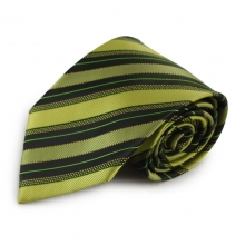 Zelená mikrovláknová kravata s proužky (černá)