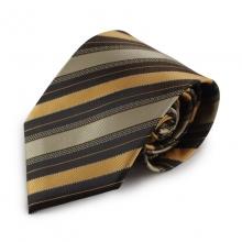 Hnědá mikrovláknová kravata s proužky (černá)