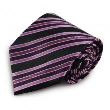 Proužkovaná mikrovláknová kravata (fialová, černá)