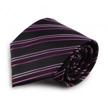 Proužkovaná mikrovláknová kravata (černá, fialová)