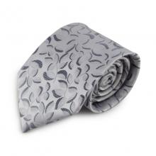 Šedá mikrovláknová kravata se zajímavým vzorem