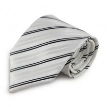 Bílá mikrovláknová kravata s decentními proužky (černá)