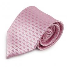 Růžová mikrovláknová kravata se zajímavým vzorem