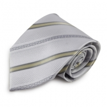 Stříbrná mikrovláknová kravata se zajímavými proužky (zlatá)