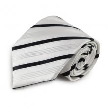Bílá mikrovláknová kravata s proužky (černá)