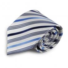 Bílá mikrovláknová kravata s proužky (modrá)