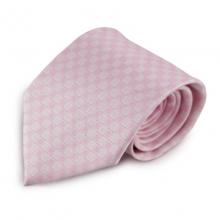 Růžová mikrovláknová kravata s kostičkovým vzorem (bílá)