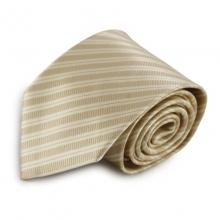Béžová mikrovláknová kravata s proužky
