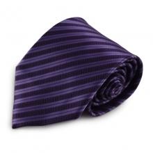 Fialová mikrovláknová kravata s proužky