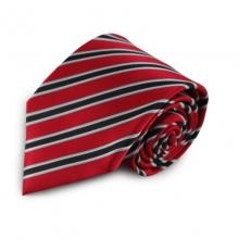 Červená mikrovláknová kravata s proužky (černá, bílá)