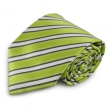 Zelená mikrovláknová kravata s proužky (bílá, černá)