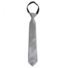 Dětská bílá kravata s černými tečkami