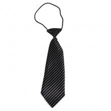 Dětská černá kravata s bílými proužky