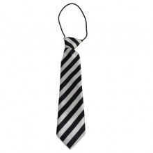 Dětská proužkovaná kravata (černá, stříbrná)