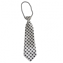 Dětská bílá kravata s černými puntíky