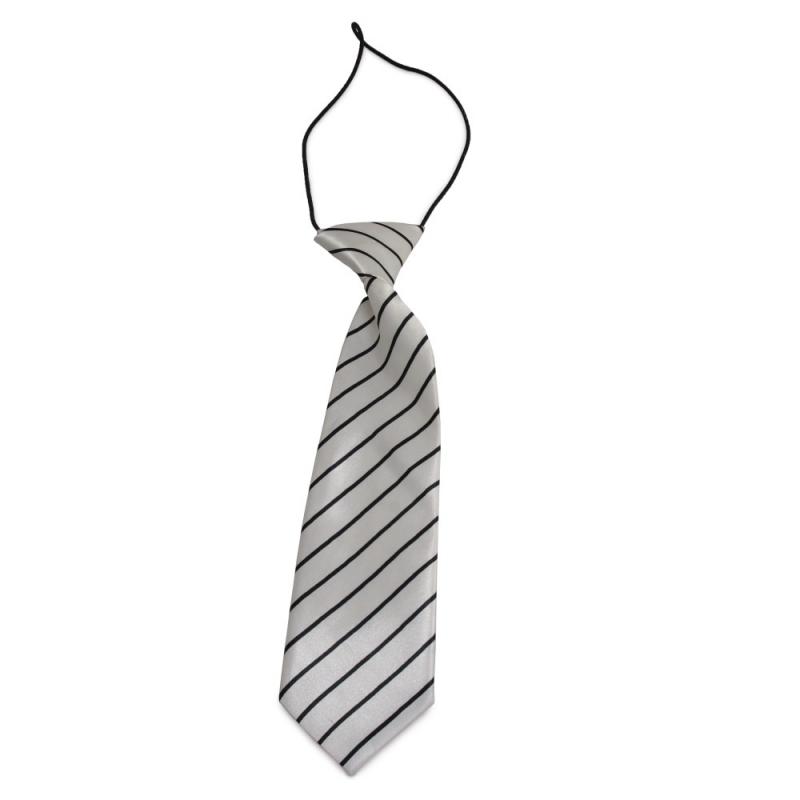 Dětská bílá kravata s černými proužky + soutěž 4bd200f2c9