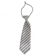 Dětská bílá kravata s černými proužky