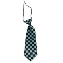 Dětská kravata s kostičkovým vzorem (černá, zelená)
