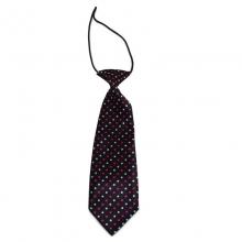 Dětská černá kravata s tečkami (bílá, růžová)