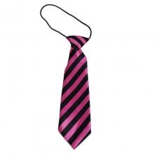 Dětská proužkovaná kravata (černá, růžová)