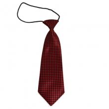 Dětská kravata s károvaným vzorem (černá, červená)