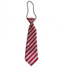 Dětská proužkovaná kravata (červená, stříbrná)