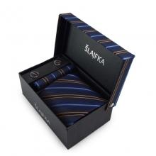 Dárkový set hedvábná kravata (modrá, oranžová)